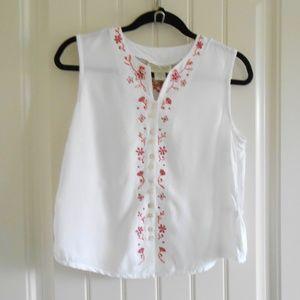 White embroidered Sleeveless blouse Fresco Tanktop